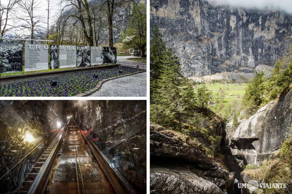 Entrada das Trummelbach Falls, Cachoeiras subterrâneas na Suíça