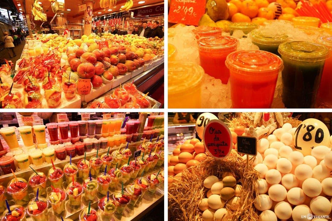 Mercado de La Boquería, na Rambla - Em Barcelona