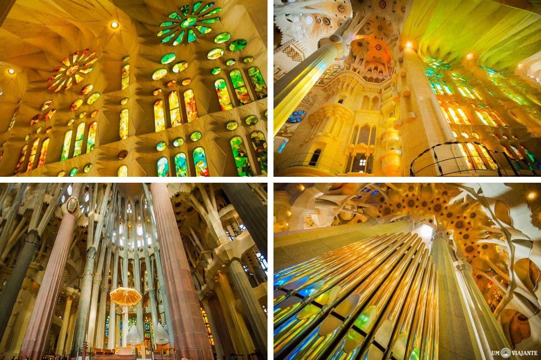 Vitrais e interior da Sagrada Família, em Barcelona