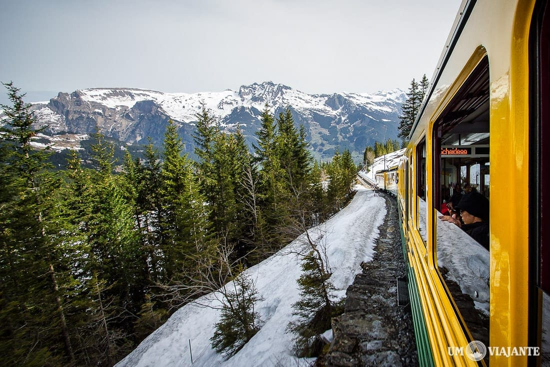 Viajando de trem na Suíça