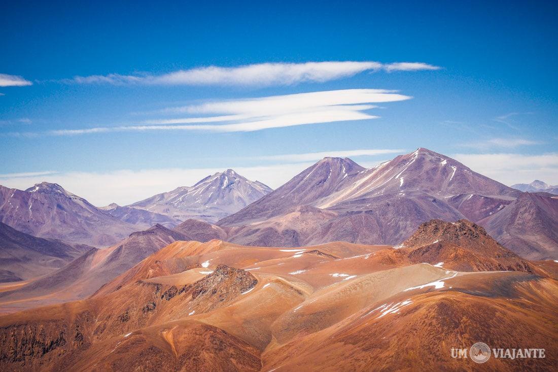 Vista do alto do Vulcão Lascar, no Chile
