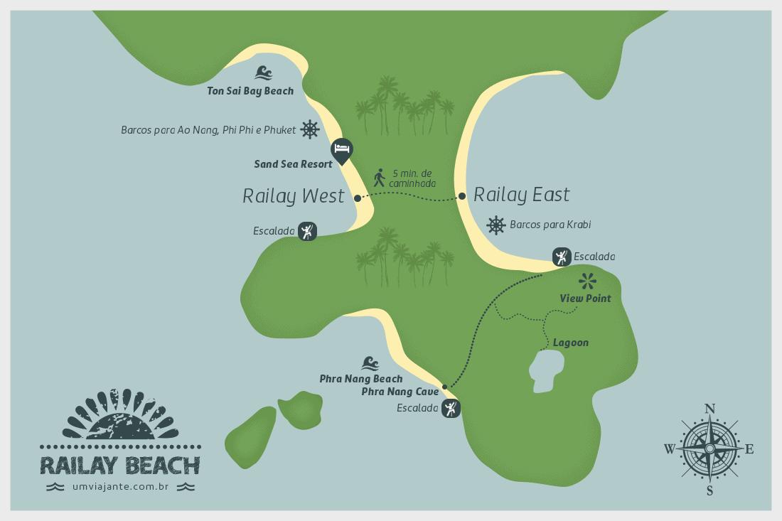 Mapa de Railay Beach, Tailândia