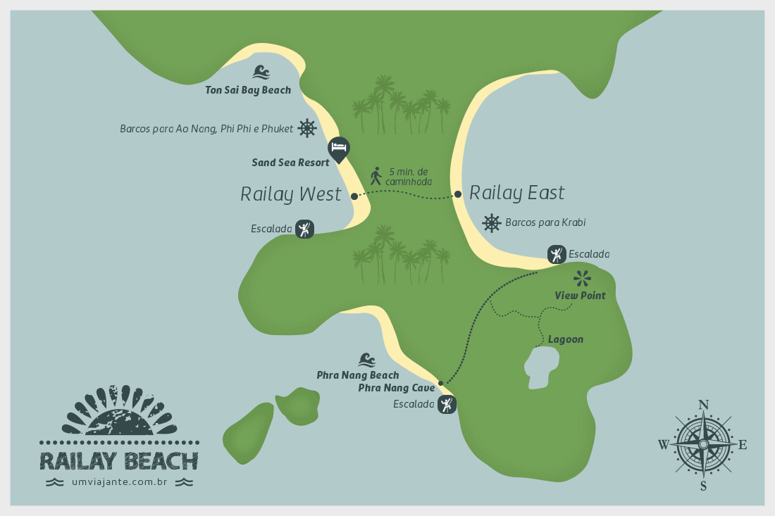 Mapa de Railay Beach, Tailândia