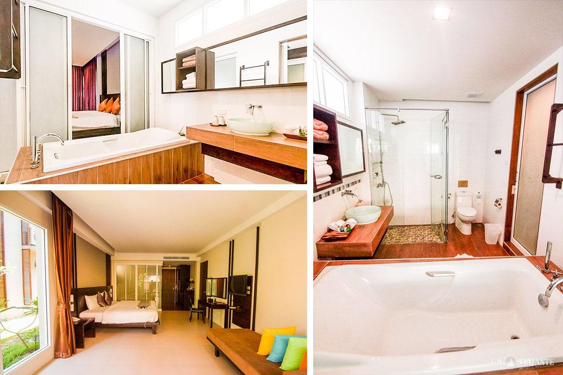 Banheiro do quarto no Sand Sea, em Railay