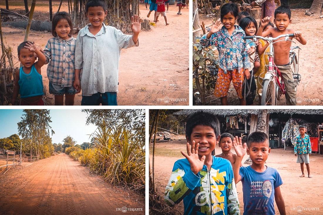 Crianças nos vilarejos do Camboja