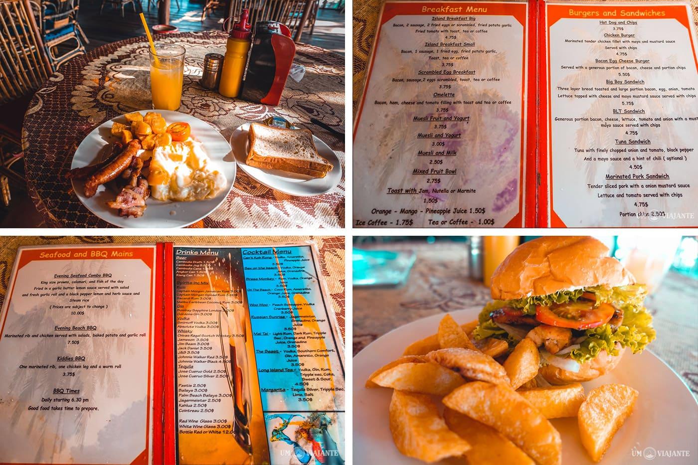 Onde comer em Koh Rong - Os preços no cardápio estão em dólar