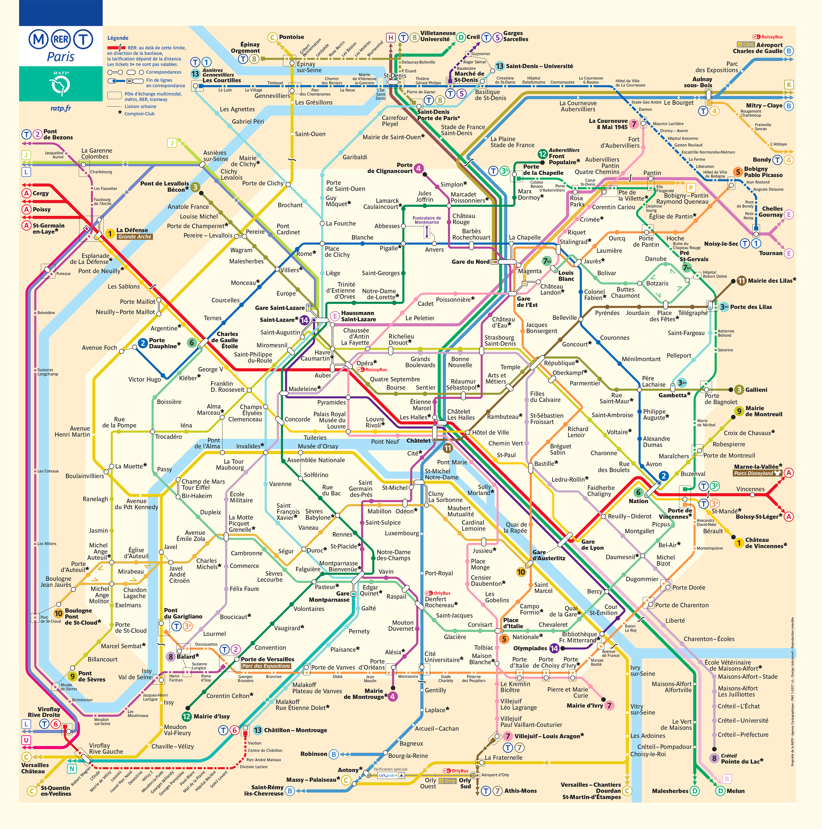 Mapa metrô Paris Atualizado