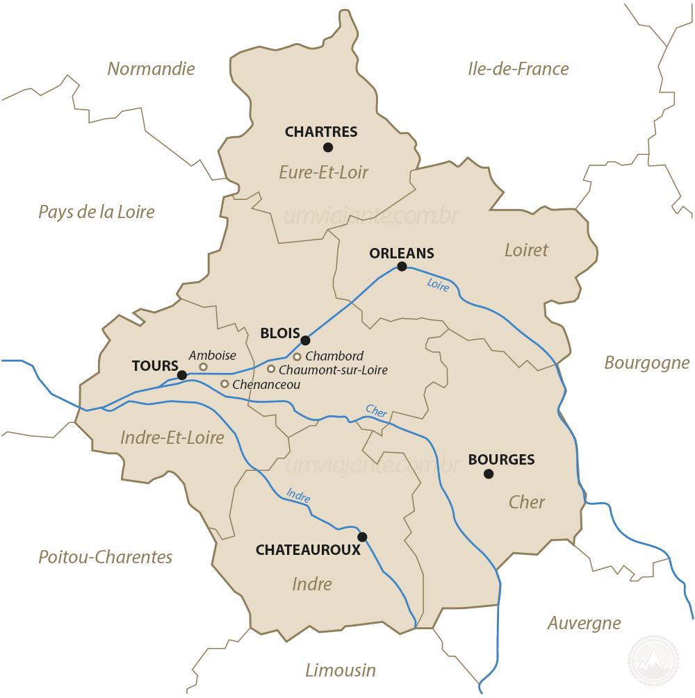 Mapa Vale do Loire, França