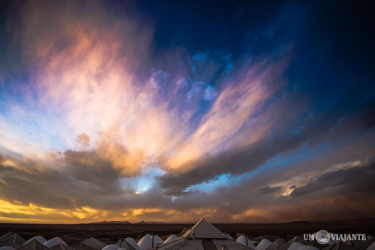 Pôr do sol no Salar de Uyuni