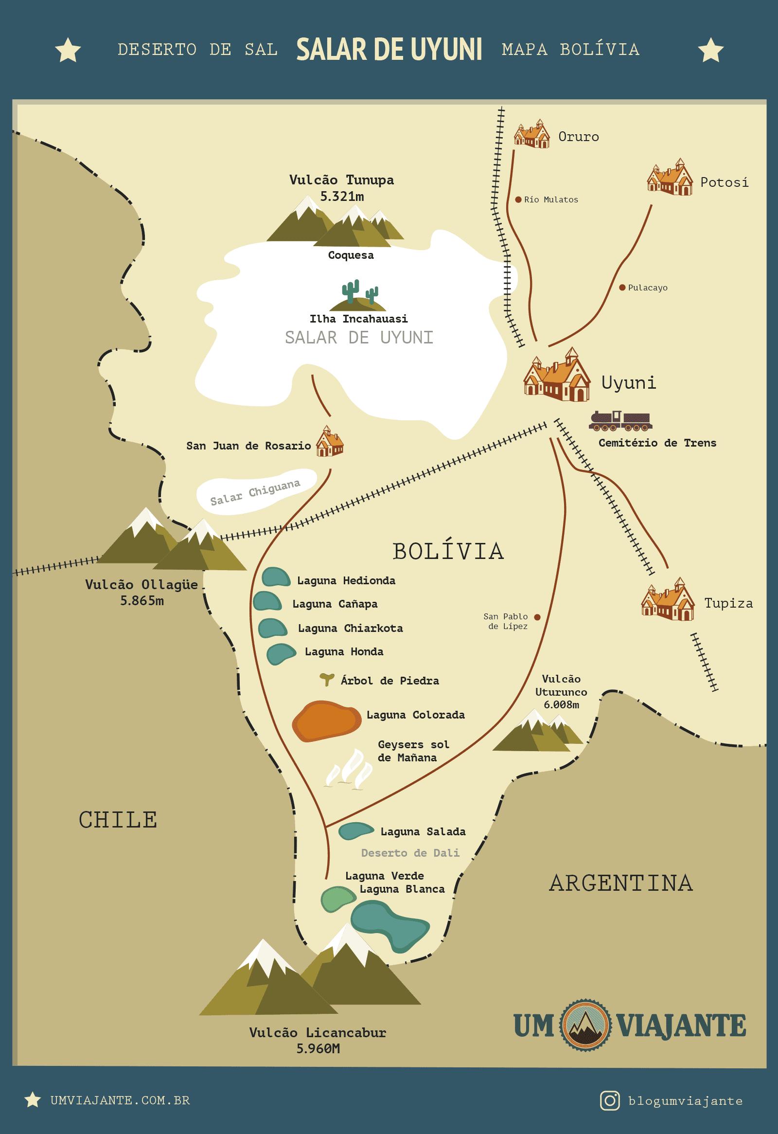 Mapa do Salar de Uyuni, Bolívia