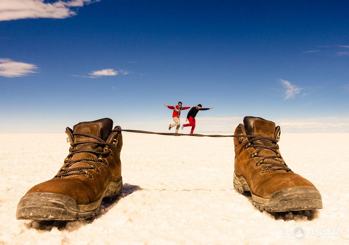 Fotos criativas no Salar de Uyuni, Bolívia