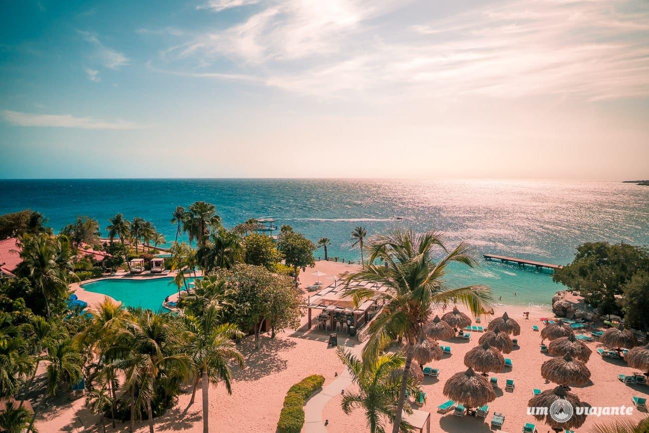 Praia do Hotel Hilton, em Curaçao