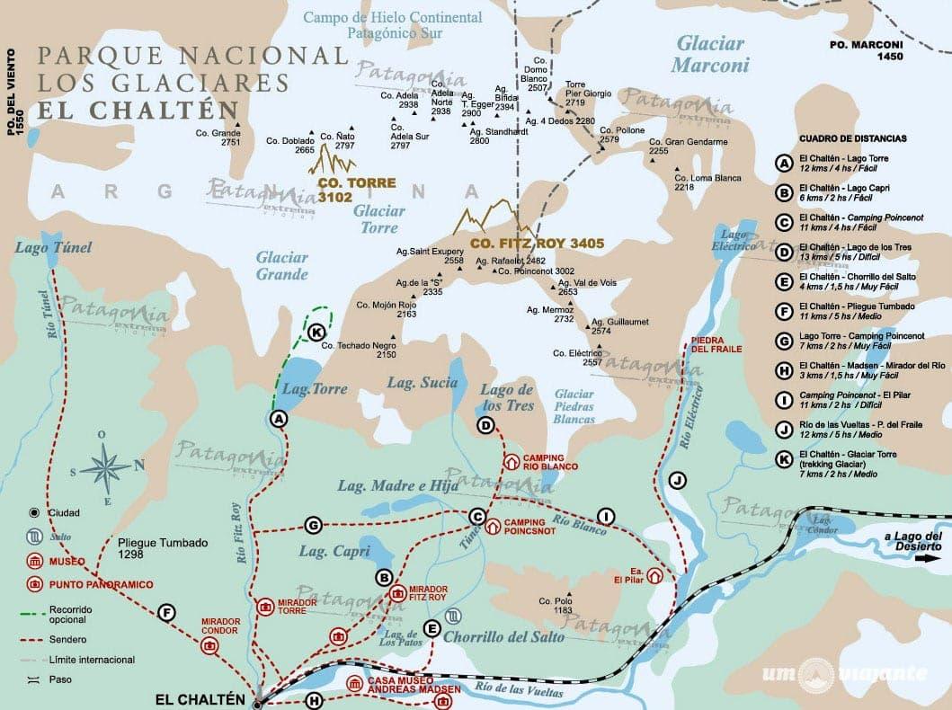 Mapa   Principais trilhas de El Chaltén