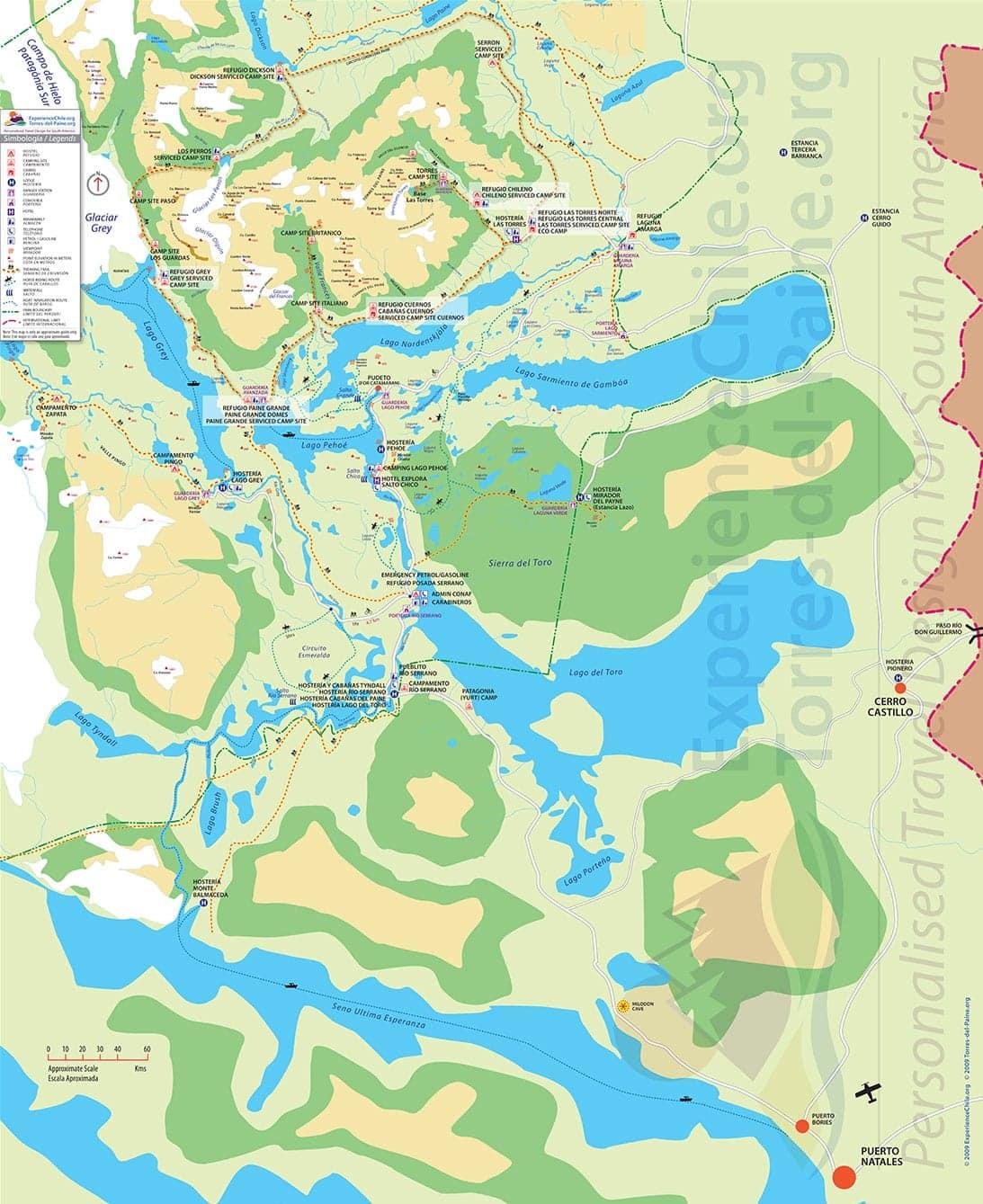 Mapa Torres del Paine - Puerto Natales