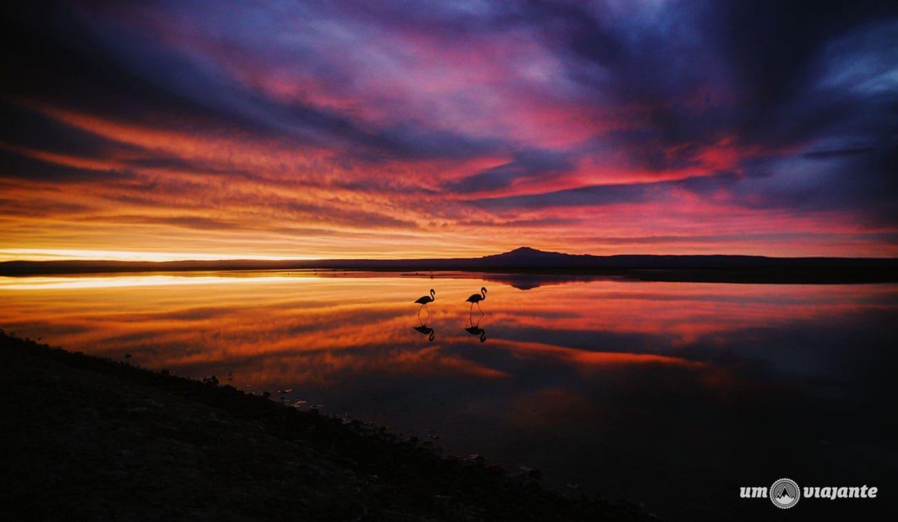 Incrível pôr do sol no Salar de Atacama