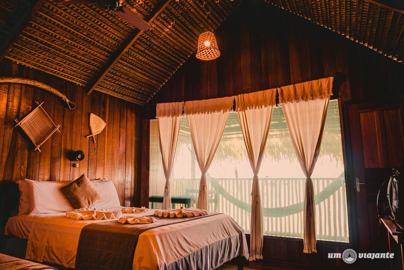 Interior do meu bangalô no Hotel Juma - Hotel de selva na Amazônia