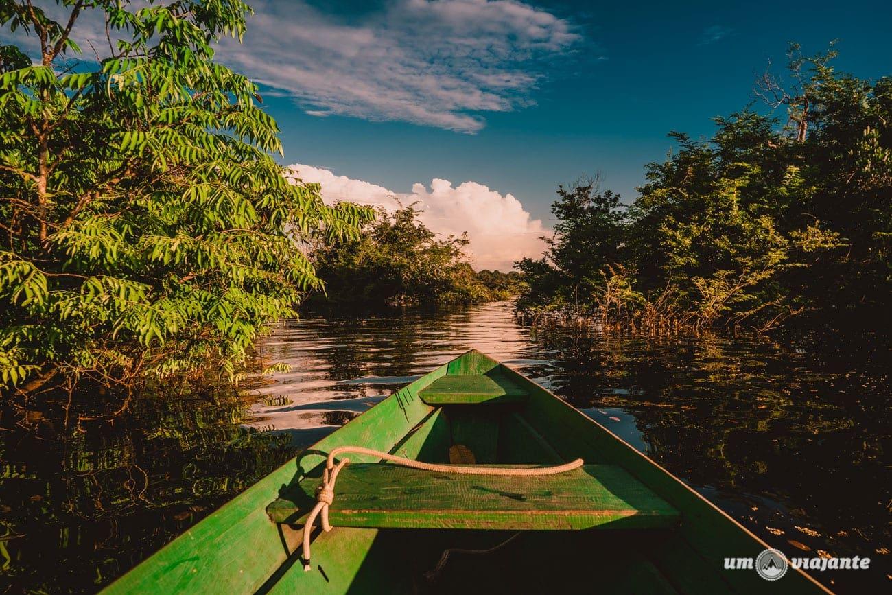 Passeio de canoa na Amazônia