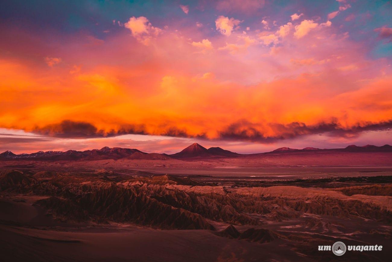 Pôr do sol em julho no Atacama