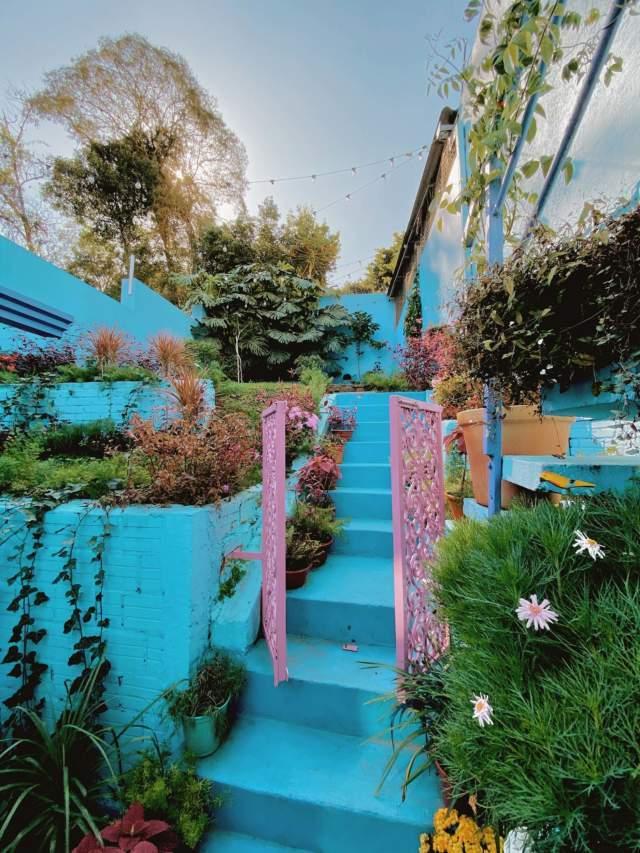 Café para viajantes tem jardim secreto inspirado na cidade azul